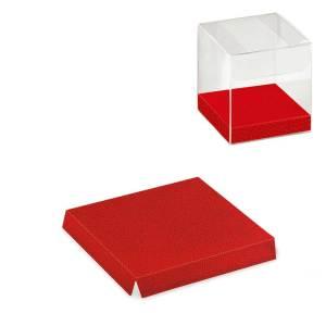 FONDO RIALZATO PELLE ROSSA PER SCATOLA TRASPARENTE | L 6 X P 6 X H 1 cm (10 pezzi)-0