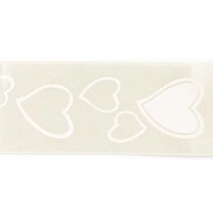 decorazione bomboniera nastro stampa cuore avorio 38mm