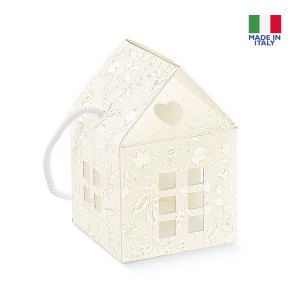 Scatola bomboniera casetta cordino harmony bianco cm 12 x 12 x 12