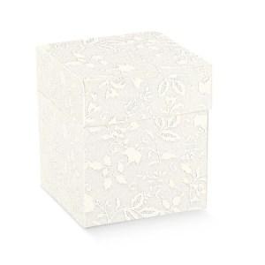 Scatola bomboniere pieghevole con coperchio harmony bianco cm 14 x 14 x 8 (conf. 10 pezzi)-0