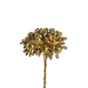 Fiore finto bomboniera oro
