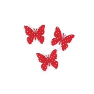 applicazione farfalla rossa a pois bianchi