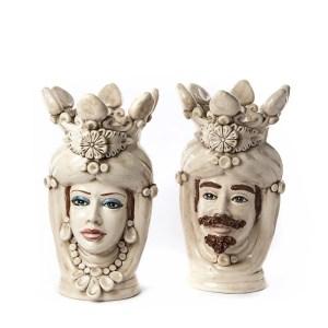 Ceramica di caltagirone testa di moro fumè h 40 cm-0