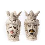 Teste di moro ceramica di catagirone fumè h 40 cm-0