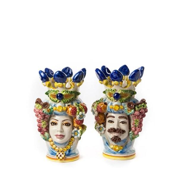 Teste di moro ceramica di caltagirone colorata h 30 cm-0