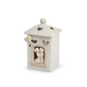 Bomboniera casetta in ceramica con led all'interno con coppia di innamorati piccola-0