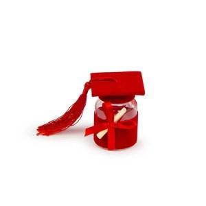 Bomboniera barattolino portaconfetti cappello laurea rosso (12pz)-0
