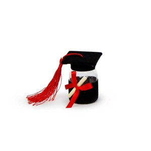 Bomboniera barattolino portaconfetti cappello laurea nero (12pz)-0