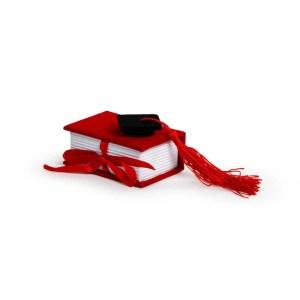 Bomboniera portaconfetti libro laurea rosso con cappello nero (6pz)-0