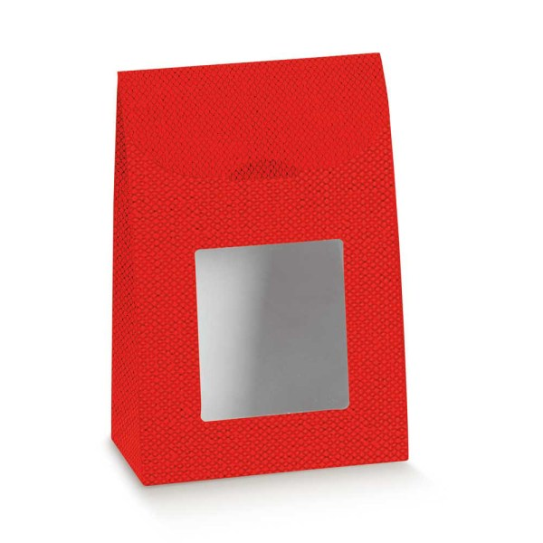 Scatola Portaconfetti Sacchetto Con Finestra Lino Rosso 9 X 4,5 X 13 cm (10 PZ)-0