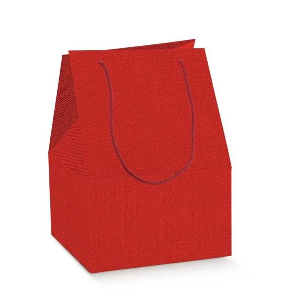 Scatola Saccotto Lino Rosso Con Manici 24,5 X 24,5 X 33,5 cm (10 PZ)-0