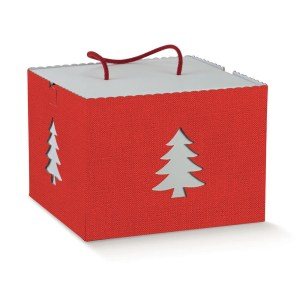 Scatola Panettone In Albero di Natale Lino Rosso Con Cordino 24,5 X 24,5 X 18 cm (2 PZ)-0