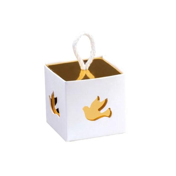 Scatola Portaconfetti In Con Cordino Colomba Bianco e Oro 5 X 5 X 5 cm (10 PZ)-0