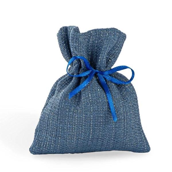 Portaconfetti mini in cotone colore blu.
