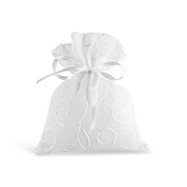 Sacchetto per confetti in tulle ricamato di colore bianco
