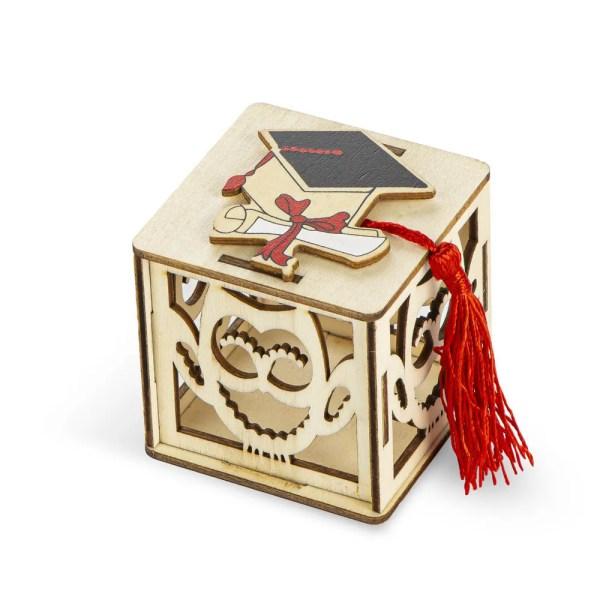 Portaconfetti in legno Laurea