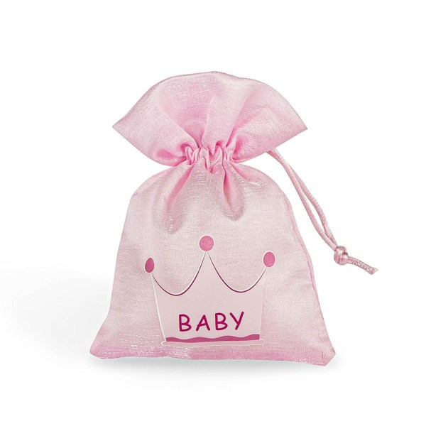 Portaconfetti nascita con corona rosa