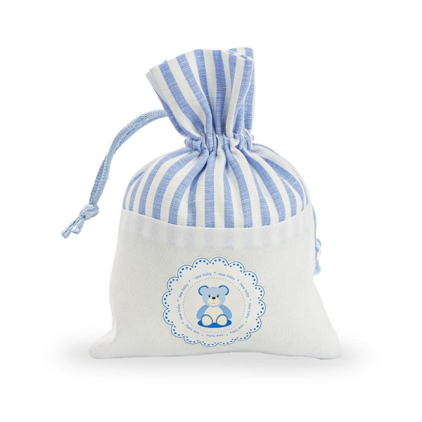 Sacchettino per confetti nascita orsetto celeste