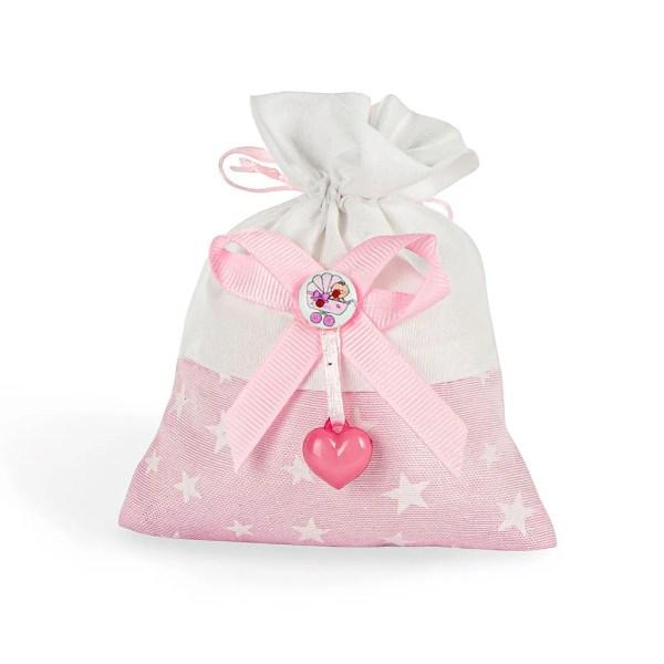 Sacchetto bomboniera con applicazione cuore e bottone rosa