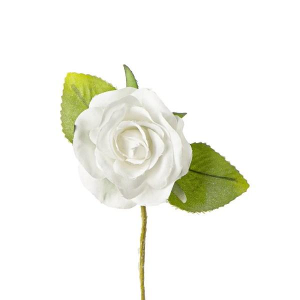 Decorazione bomboniera rosellina panna con due foglie