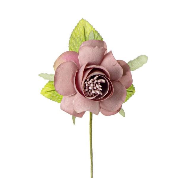 Applicazione bomboniera camelia con foglia rosa antico