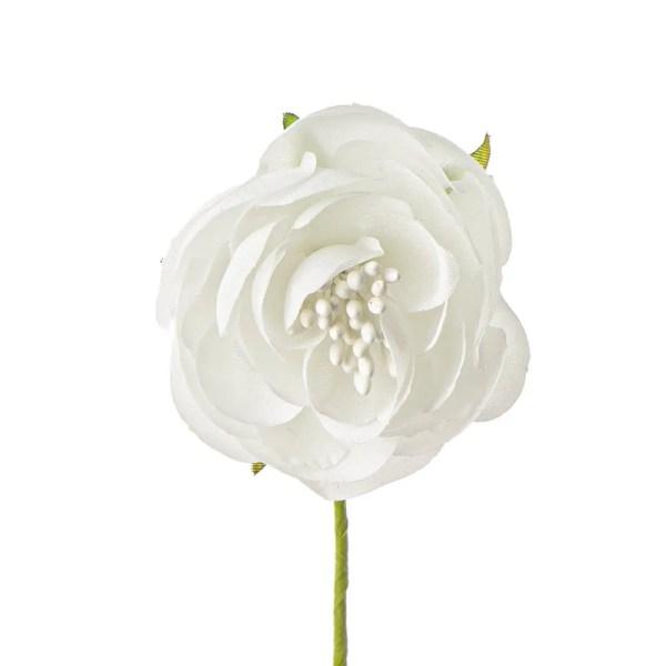 Fiore bottone bomboniera con pistilli bianco.