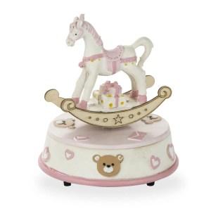 Bomboniera carillon cavallo a dondolo rosa-0