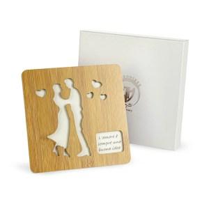 Bomboniera matrimonio utile sottopentola in legno sposi.-0
