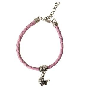 Bracciale rosa bimba con carrozzina in zama-0