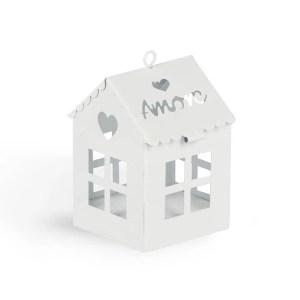 Bomboniera lanterna casetta con scritta amore bianca.-0