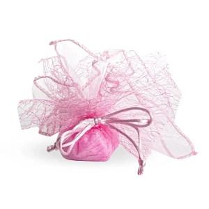 Bomboniera portaconfetti velo orlanto con retina rosa-0