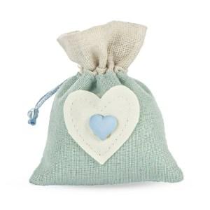 Bomboniera sacchetto azzurro con decorazione cuore-0
