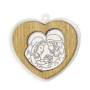 Decoro bomboniera cuore in legno sacra famiglia (12 pz)-0