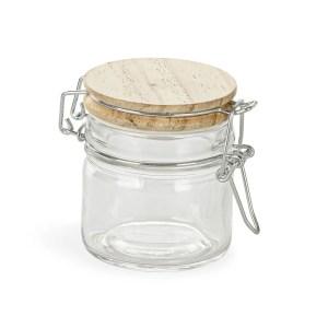 Barattolo bomboniere in vetro con tappo in legno-0