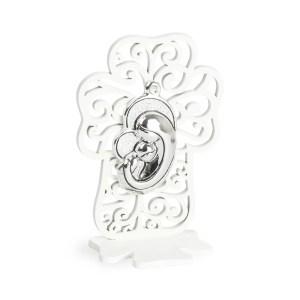 Bomboniera sacra in legno con icona maternità e scatola regalo