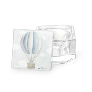 Scatola in vetro mongolfiera celeste con box