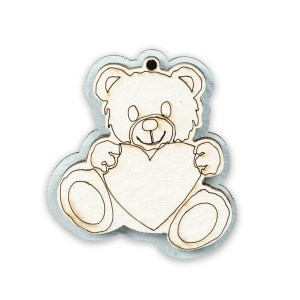 Applicazione bomboniera magnete nascita bimbo orsetto in legno.-0