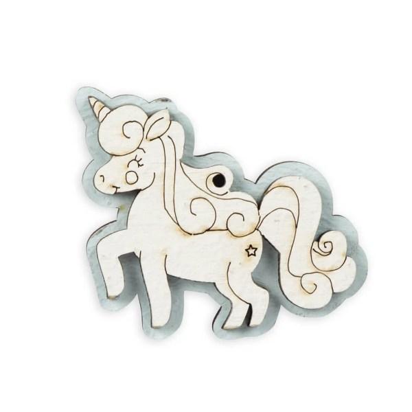 Magnete in legno unicorno celeste-0