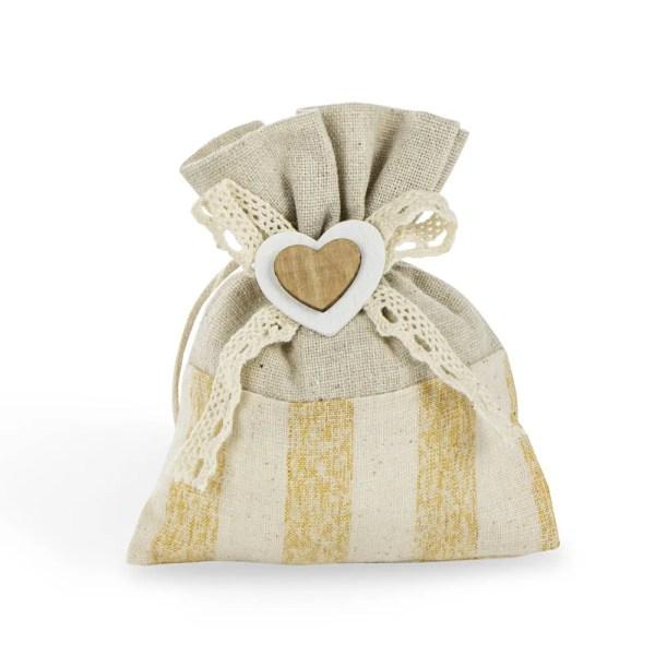 Sacchetto strice con cuore in legno panna