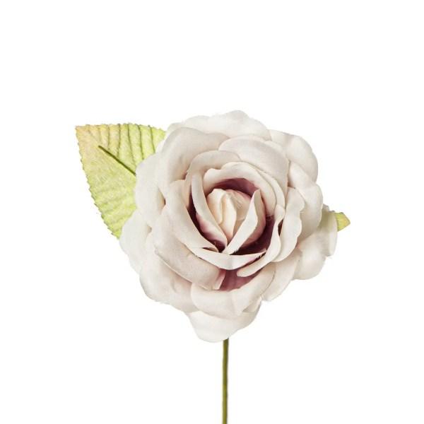 Fiore bomboniera rosa con foglia rosa antico