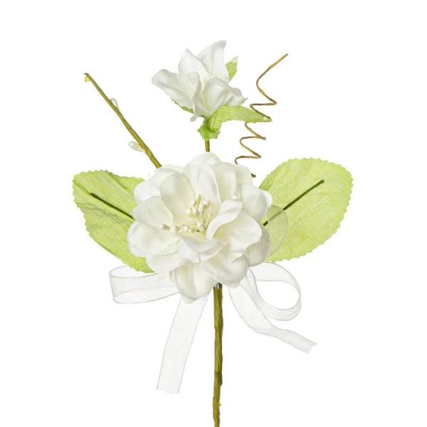 Fiore bomboniera nascente con due foglie colore panna