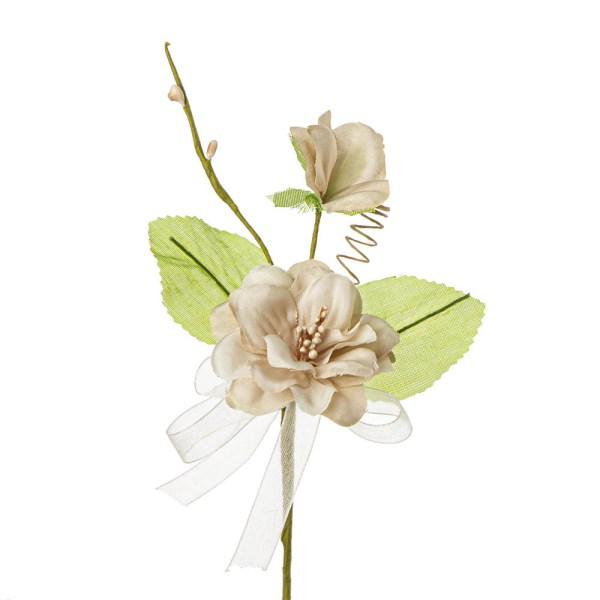 Applicazione fiore nascente con due foglie beige