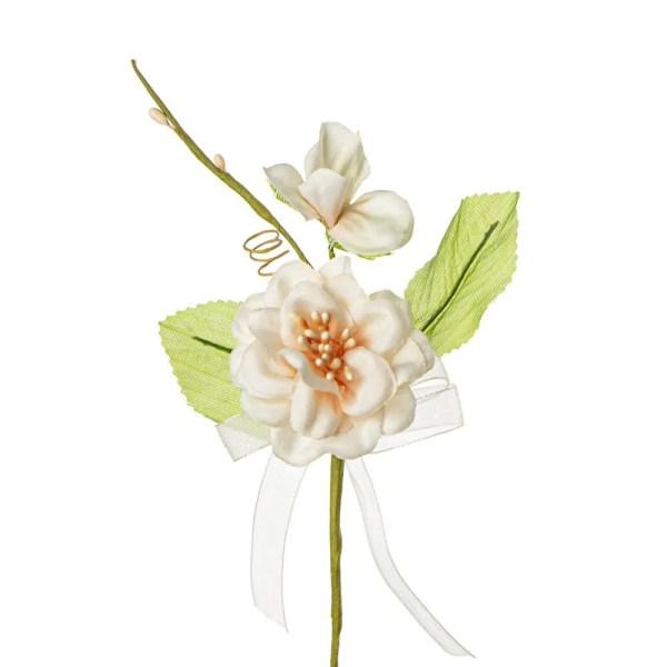 Applicazione bomboniera fiore nascente con due foglie colore cipria