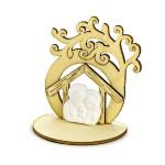 Bomboniera decorativa in legno albero della vita e natività