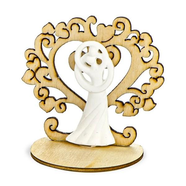 Bomboniera decorativa albero della vita in gesso con applicazione sposi in gesso