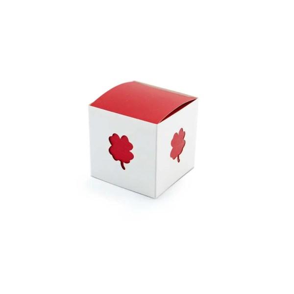 Scatola cubo portaconfetti in cartoncino per laurea con quadrifoglio-0