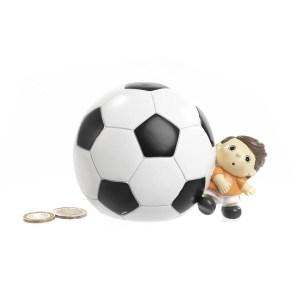 Bomboniera salvadanaio calciatore in resina