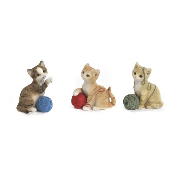 Bomboniera gattino con gomitolo in resina 3 assortiti