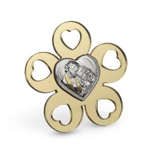 Bomboniera fiore in plexi oro con sacra famiglia-0