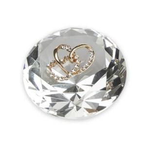 Bomboniera diamante in cristallo con applicazione coppia cuori oro-0